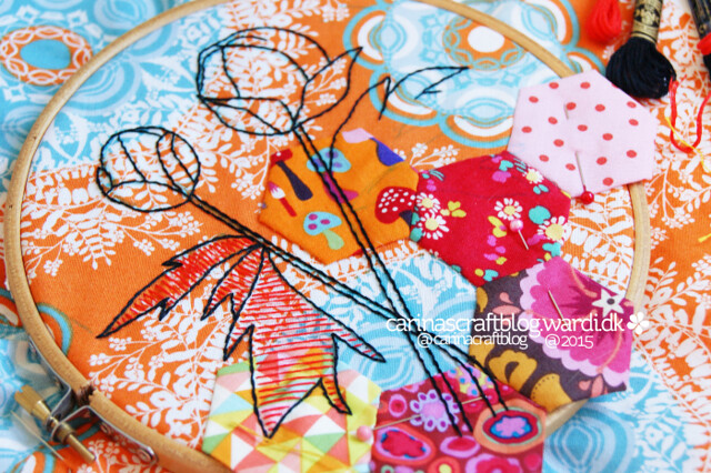 Peonies and hexagons - Stitch Improv