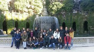 Gli studenti presso Villa d'Este a Tivoli
