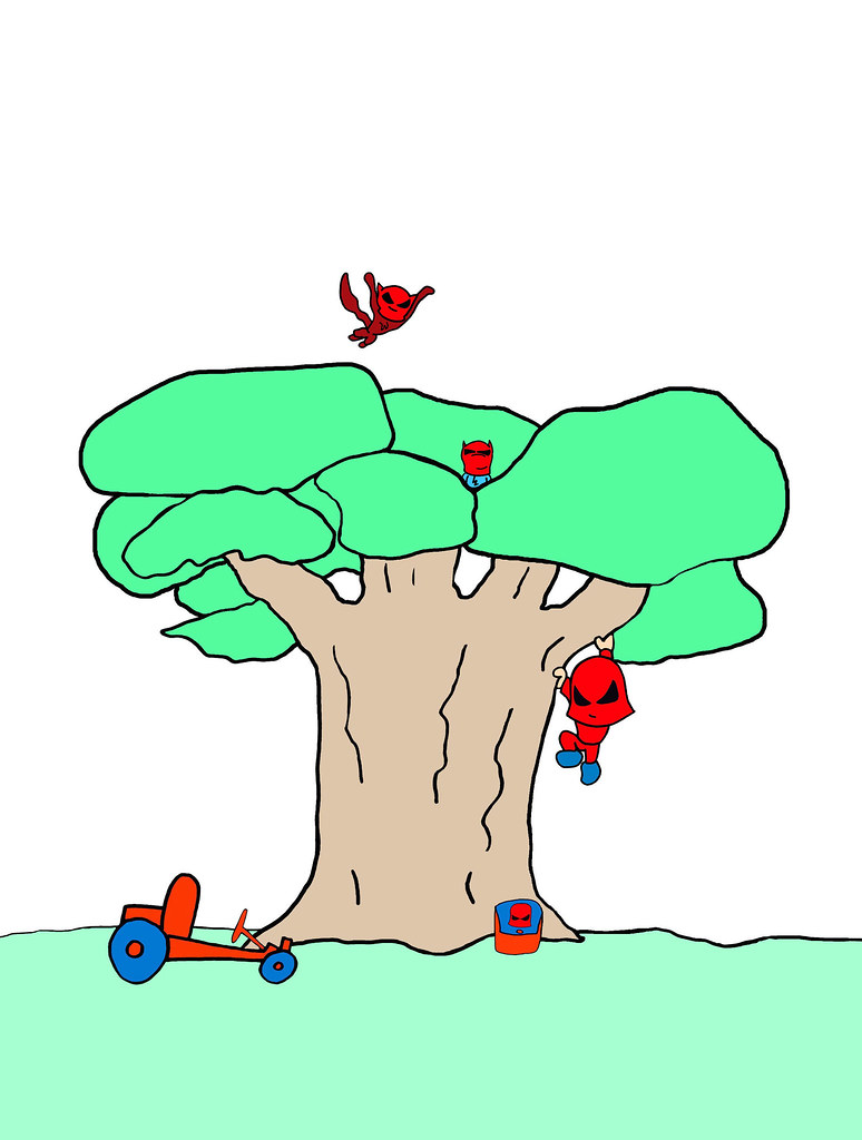 Kid Climbing Tree Cartoon Wee Kid Tree Climb Cartoon
