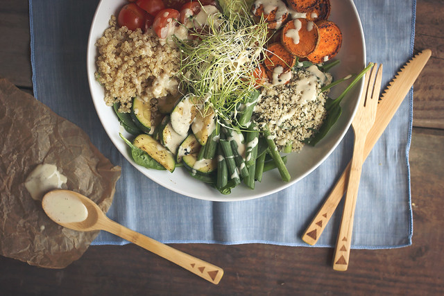 Summer Veggie Power Bowls with Lemon Garlic Tahini Dressing