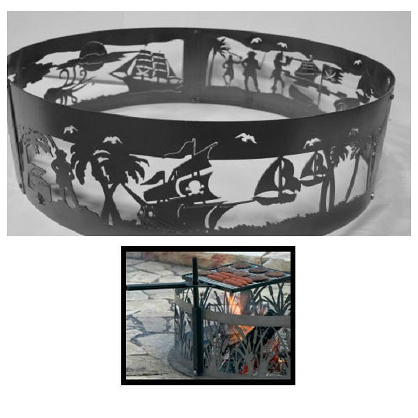 QBC Bundled PD Metals Steel Campfire Ring Pirates Life Design - Unpainted - with Cooking Grill - Extra Large 60 d x 12 h - Plus Free QBC Campfire Ring Guide