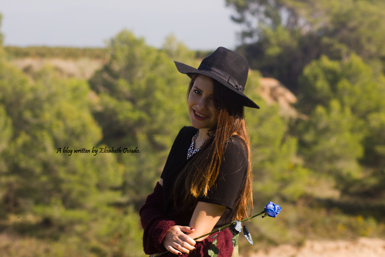 cardigan burgundy sombrero negro HEELSANDROSES look lady viñedos cata Mango Inditex (4)
