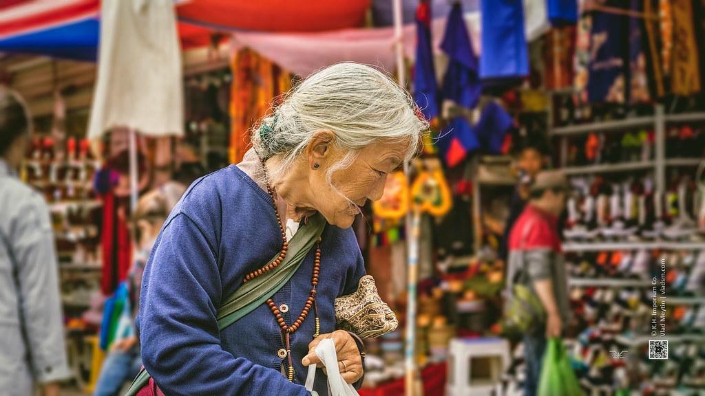 Tibet, candid shot of an old woman at the market (China), 06-2016, 79 (Vlad Meytin, vladsm.com)