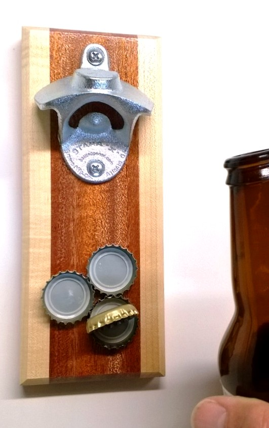 wall mounted bottle opener in mahogany and maple with magn. Black Bedroom Furniture Sets. Home Design Ideas