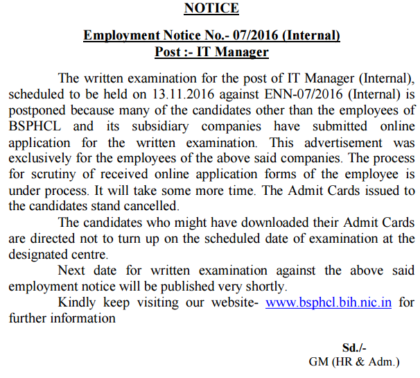 BSPHCL JE AM Admit Card 2016
