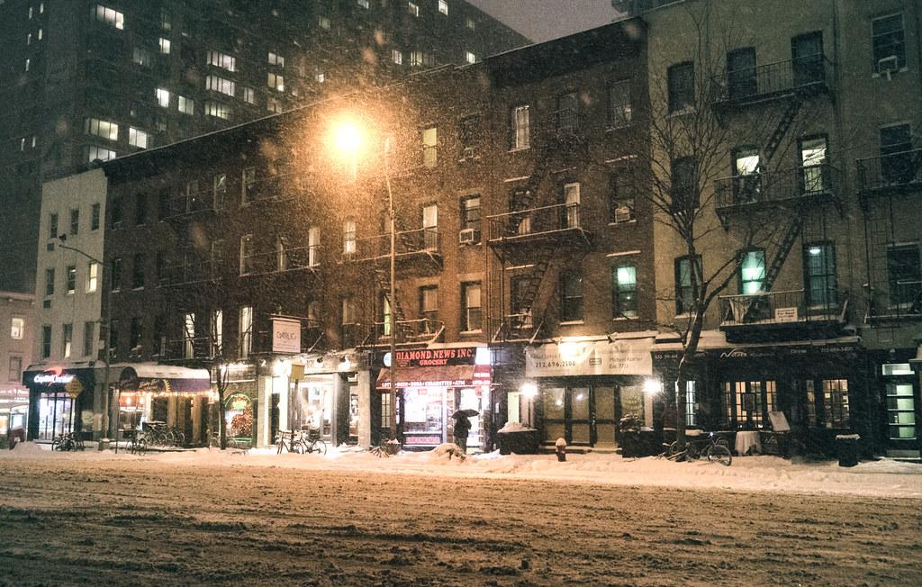 New York City Snow Janus Midtown At Night Janus