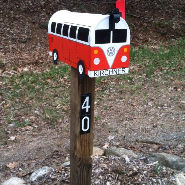 Orange VW Bus Mailbox by TheBusBox