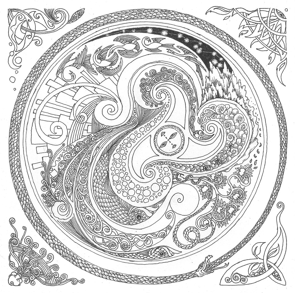 Salmon mandala coloring pages