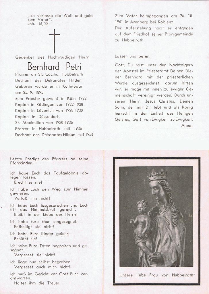 Totenzettel Petri, Bernhard † 26.10.1961