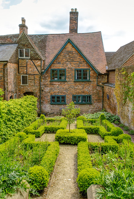 The period style garden behind the 17th century Merchant's House in Marlborough, Wiltshire