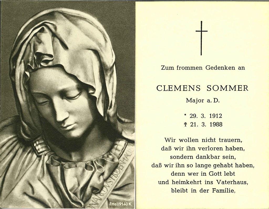 Totenzettel Sommer, Clemens † 21.03.1988