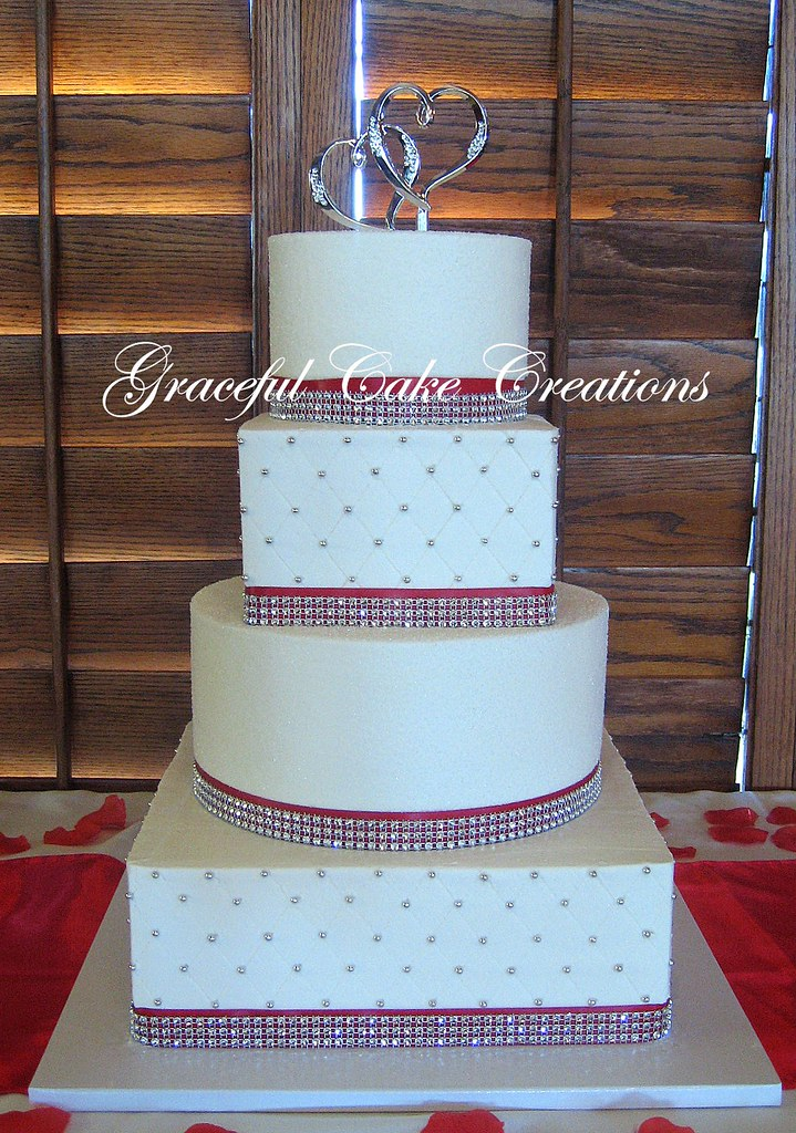 wedding cake ribbon with rhinestones white wedding cake with ribbon and rhinestone 23689