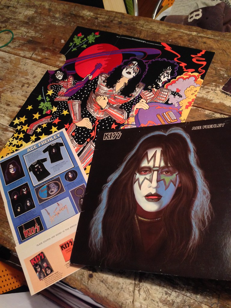 Kiss 1st Pressing Vinyl Ace Frehley Solo Poster And