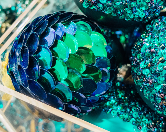 blue and green sequinned bauble
