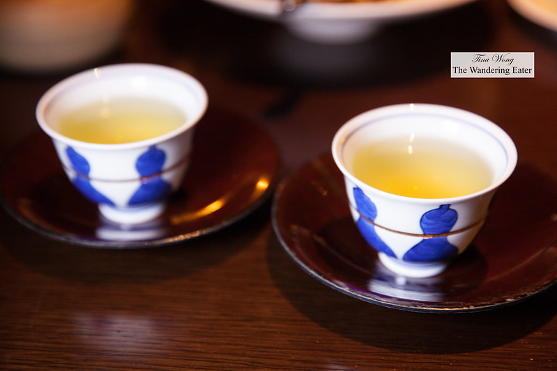Cups of Sencha tea to finish the meal