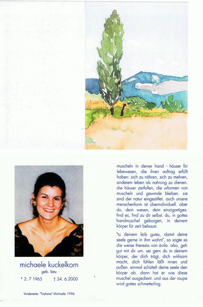 Totenzettel Kuckelkorn, Michaele † 24.06.2000