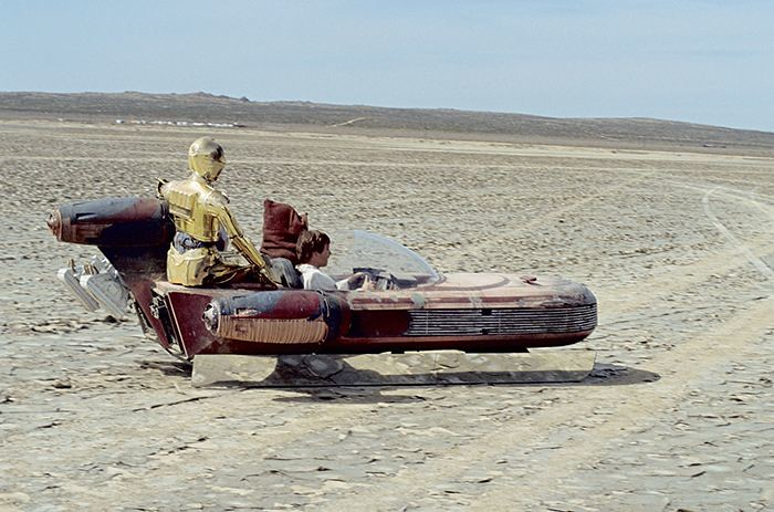 Doubles Of C 3po Obi Wan And Luke In The Land Speeder Wi