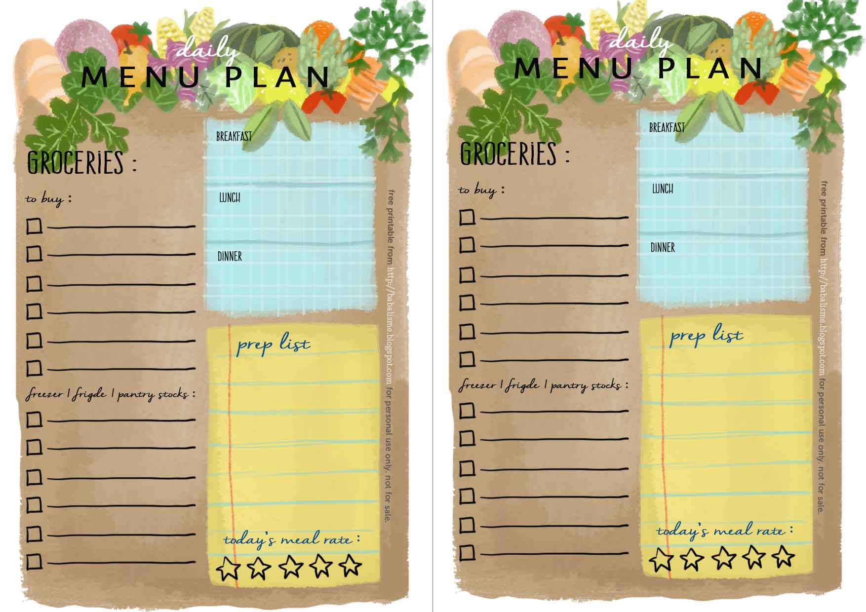 babalisme free A5 planner inserts daily menu plan