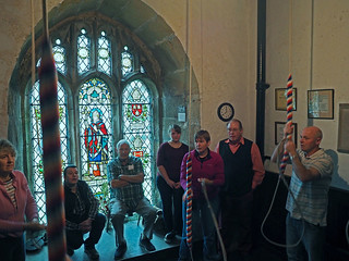 Six bells, Barrow ringers Ken Parkinson sits and watches Jo Sweeney concentrating on her ringing (centre)