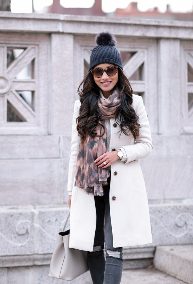 winter fashion coat scarf hat ann taylor boston