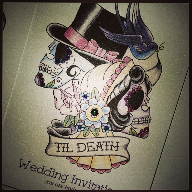 Charlottes Invites All Glittered Bride Groom Skull Su
