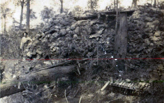 Officers Dugout after shell hit side, Ploegsteert Wood