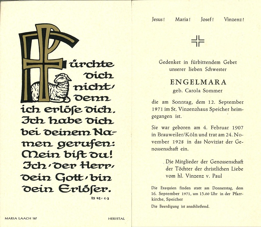 Totenzettel Schwester Engelmara † 12.09.1971