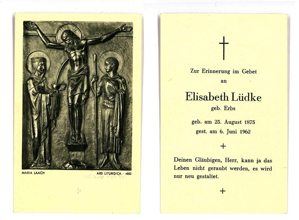 Totenzettel Erbs, Elisabeth † 06.06.1962