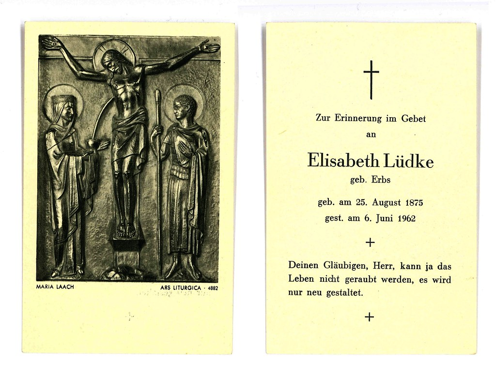 Totenzettel Lüdke, Elisabeth † 06.06.1962