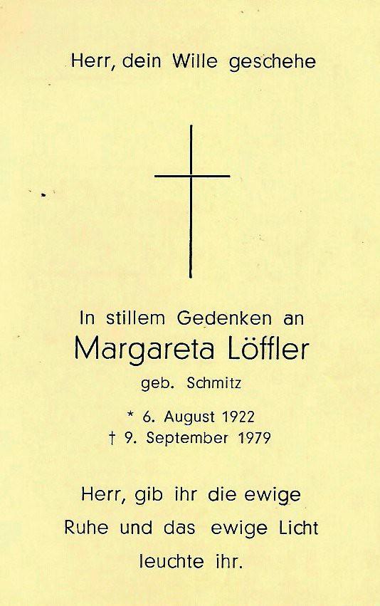 Totenzettel Löffler, Margaretha geb. Schmitz † 09.09.1979