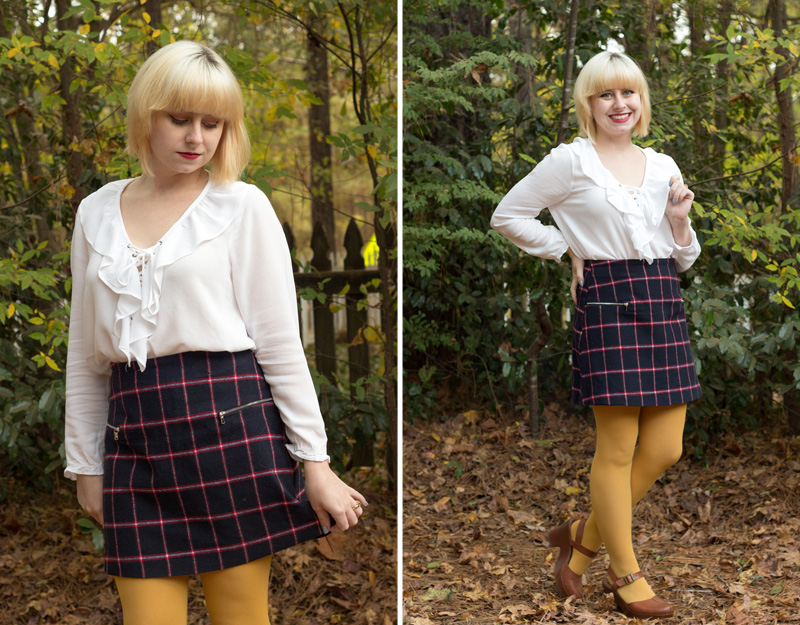 Fall Outfit Plaid Mini Skirt Ruffled White Blouse and Mustard Yellow Tights