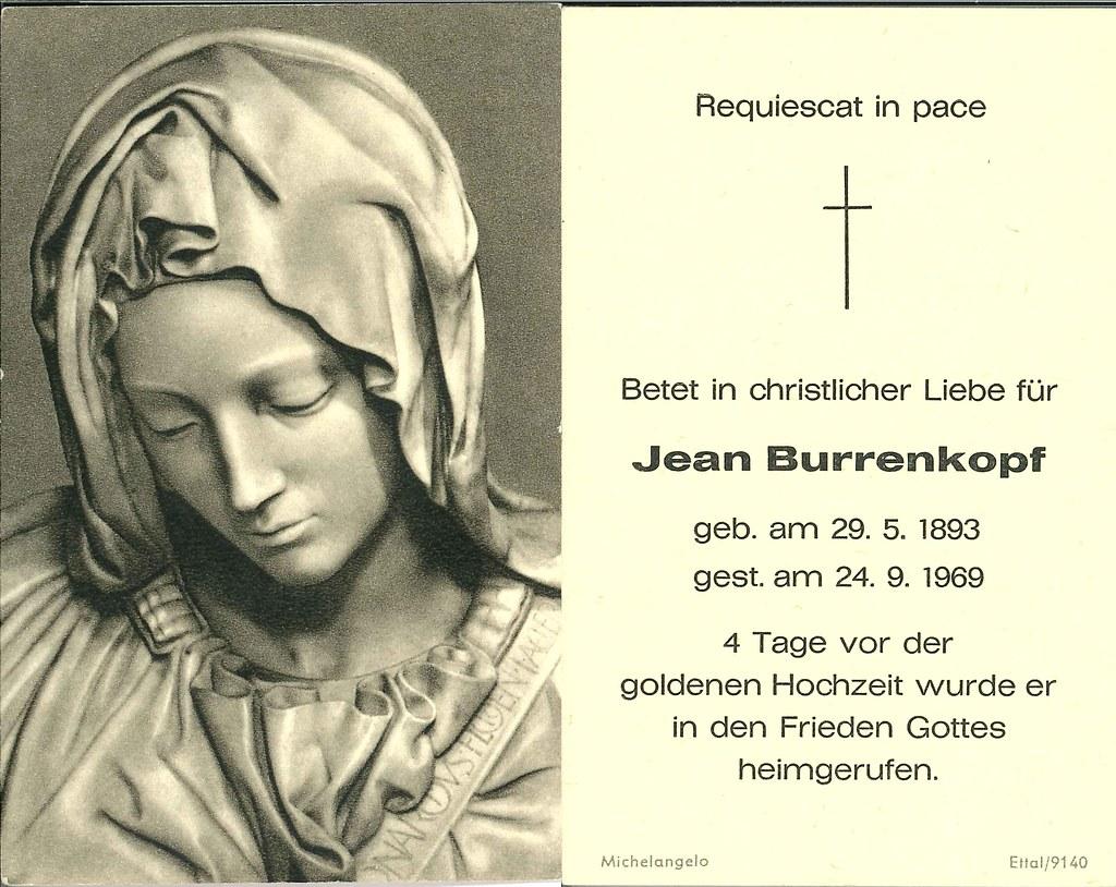 Totenzettel Burrenkopf, Jean † 24.09.1969