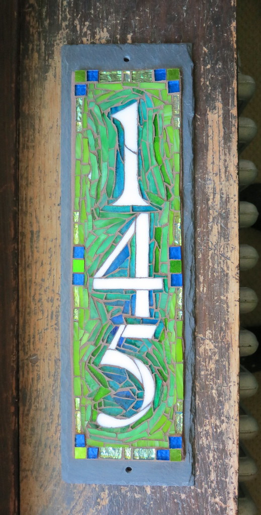 Custom vertical house number plaque in blue and lime green for House number designs