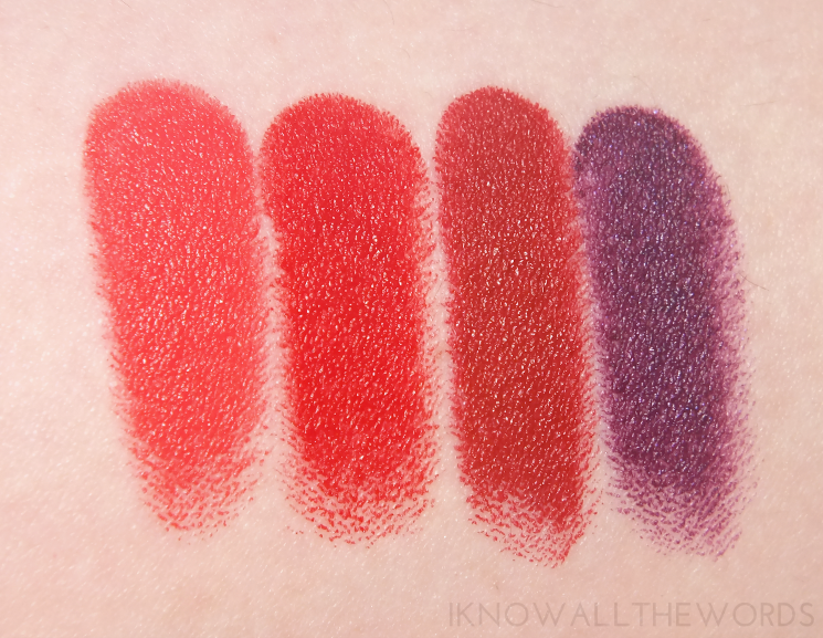 marc jacobs le marc lip creme swatches core cora, aamazing, rei of light and scandal