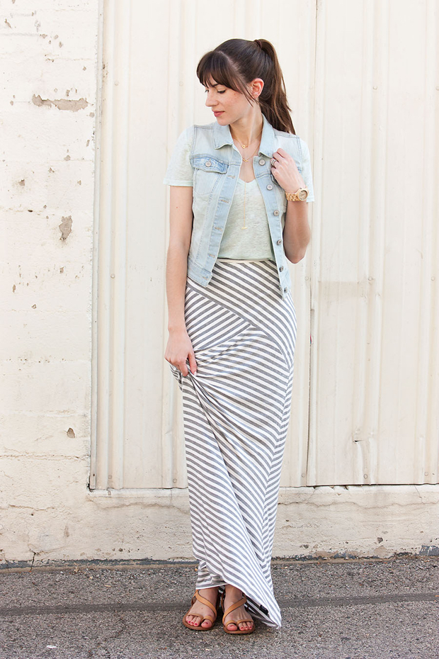 Striped Maxi Skirt - Jeans and a Teacup