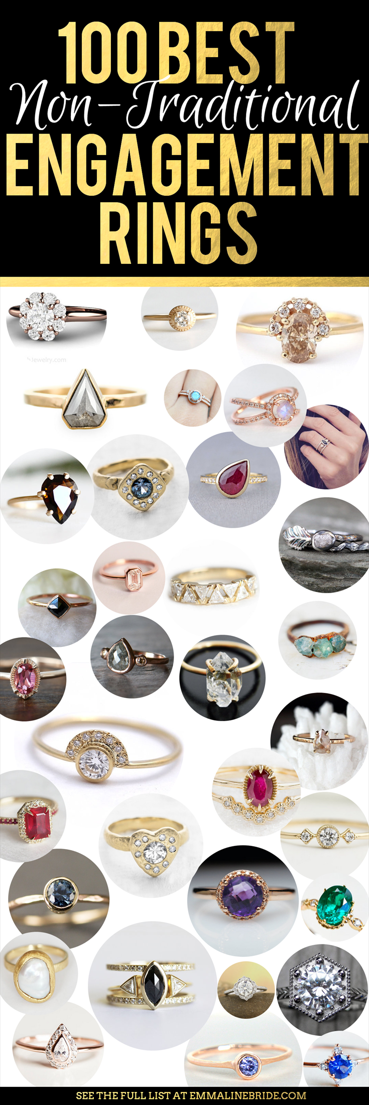 100 Best Non-Traditional Engagement Rings | via http://emmalinebride.com/engagement/non-traditional-engagement-rings