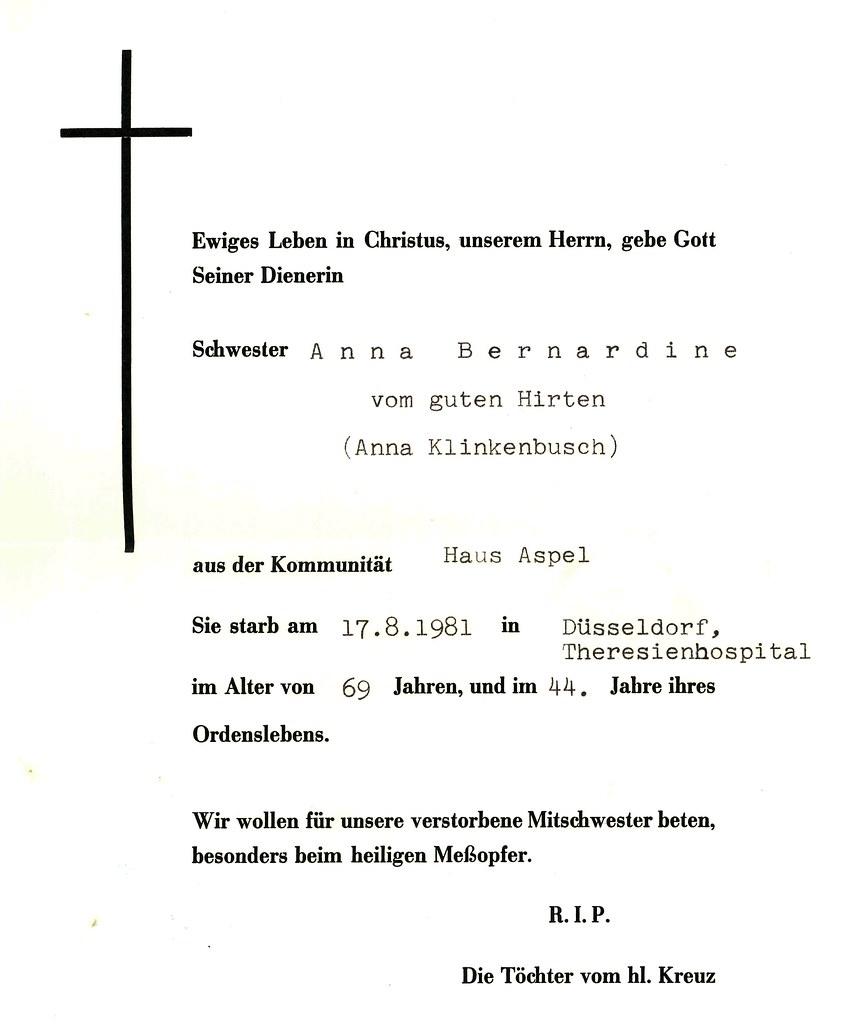Totenzettel Klinkenbusch, Anna † 17.08.1981