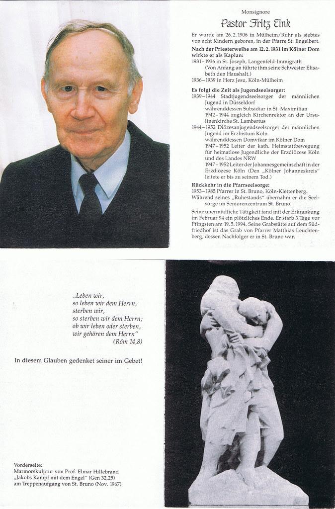 Totenzettel Eink, Fritz † 19.05.1994