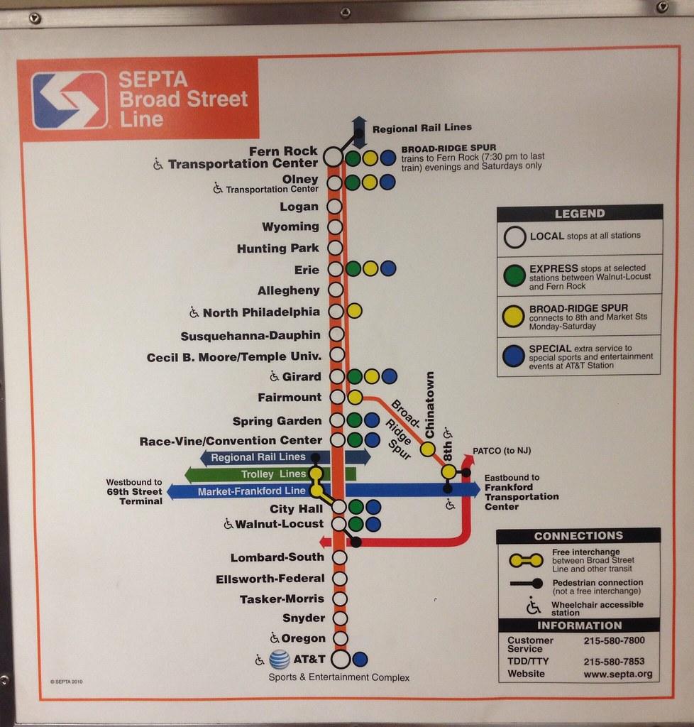 Septa Broad St Line Map 9 14 In Car Map Of The Septa