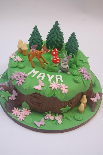 Can't quite believe we've never been asked to do Bambi before, but here she is, along with Thumper, perched on a beautifully decorated tree stump! The Bambi Cake - from £75.