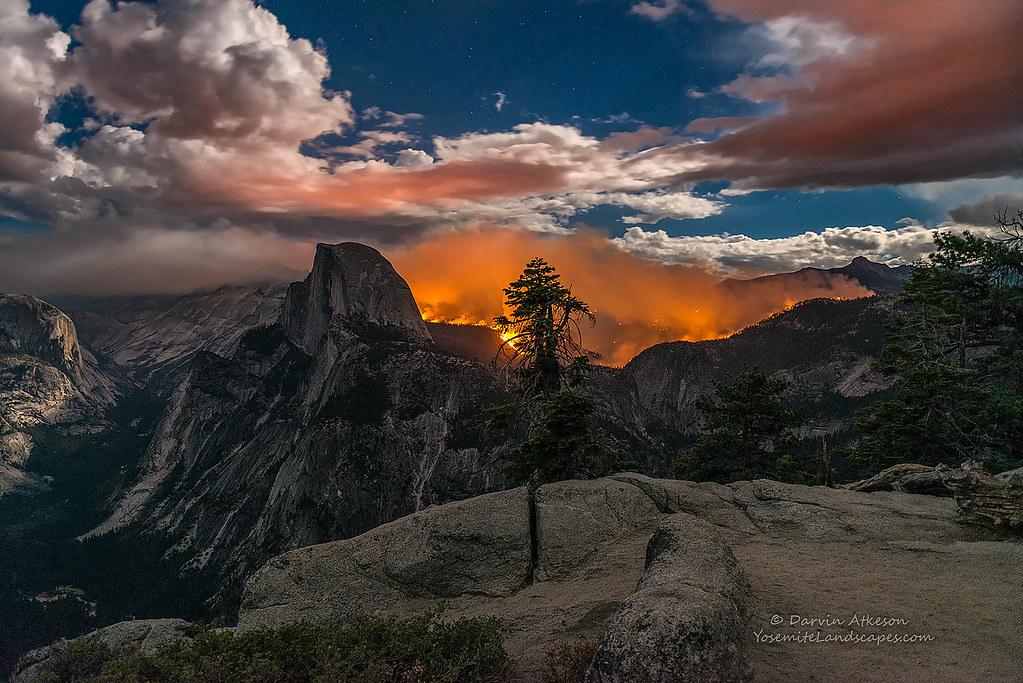 Glacier Point Yosemite Fire A Wide Angle Shot Of The