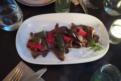 Feast of Merit, 117 Swan Street, Richmond, Melbourne - ox tongue (grilled ox tongue, res el hanout, sour milk, baby radish)
