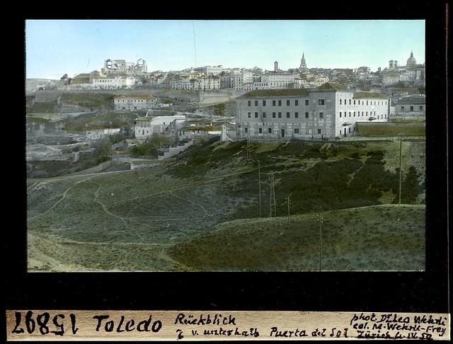 Vista de Toledo desde la Zona del Salto del Caballo por Leo Wehrli el 4 de abril de 1950 (fotografía coloreada) © ETH-Bibliothek Zurich