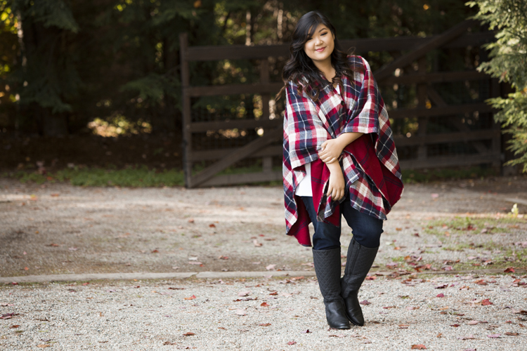Curvy Girl Chic Plus Size Fashion Blog Catherines Vermont Plaid Shawl