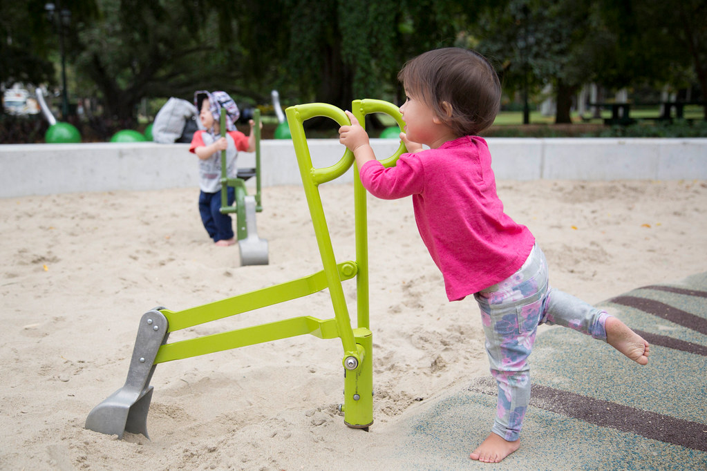 Children Playing With The Accessible Sand Diggers In Playg