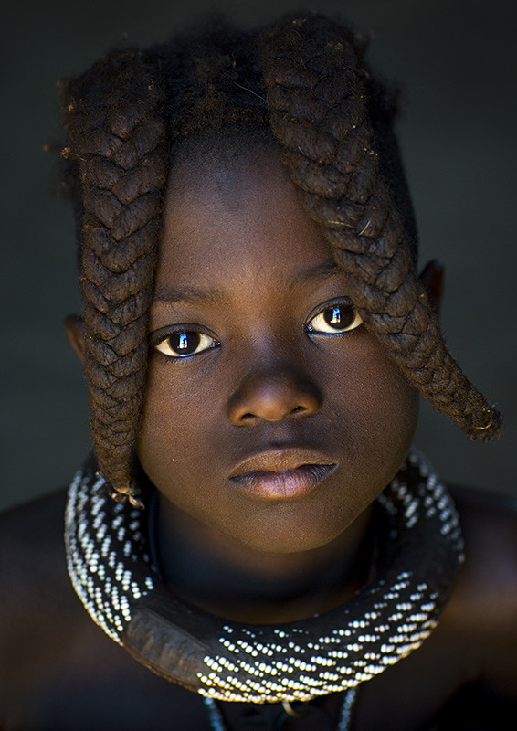 Young Himba Girl With Ethnic Hairstyle Epupa Namibia