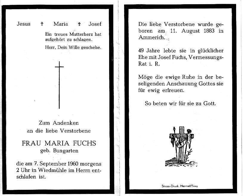 Totenzettel Bungarten, Maria † 07.09.1960