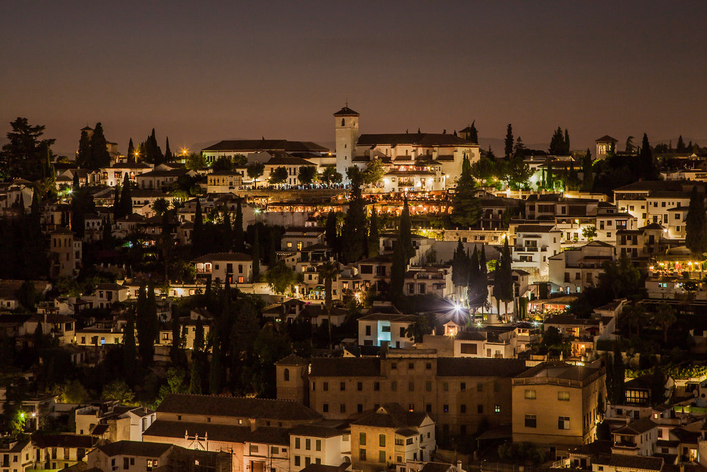 Night view from Alhambra de Granada, Andalousia Spain - Image Picture Photography
