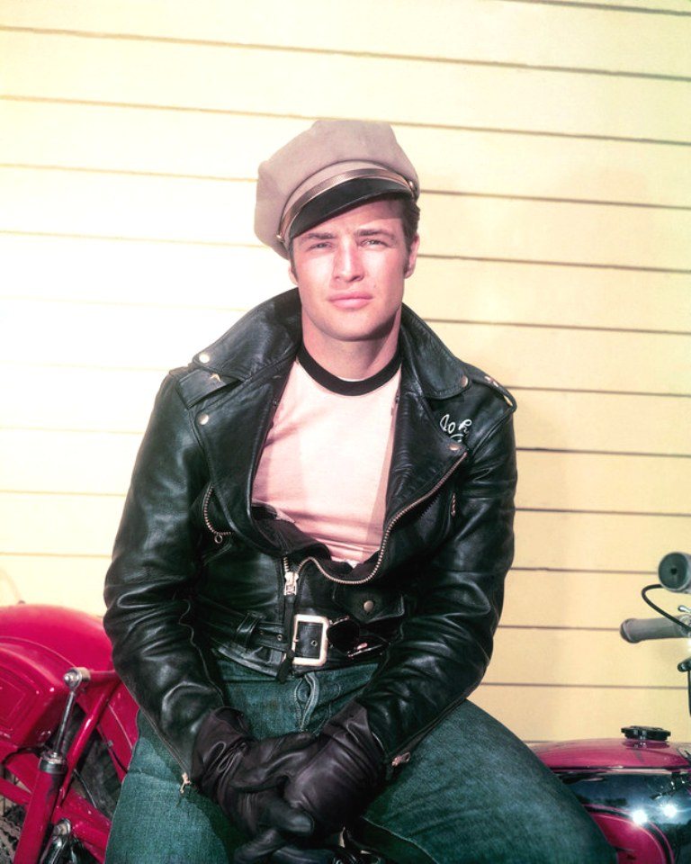 Rare Color Photo Of Brando on the set of The Wild One