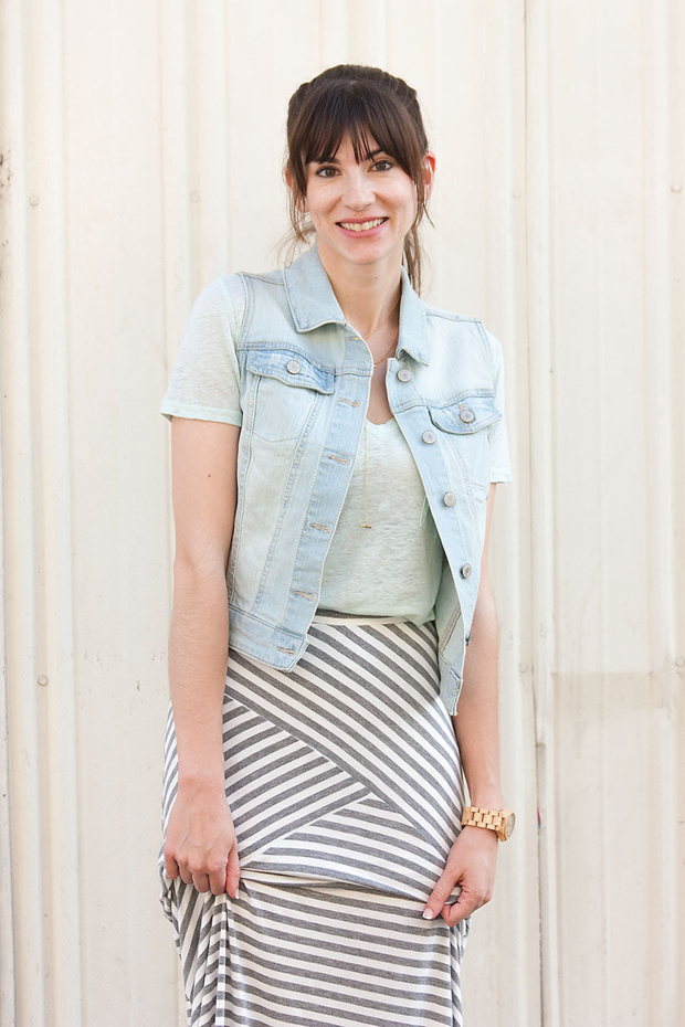 Striped Maxi Skirt, Denim Vest, Mint Linen Tee